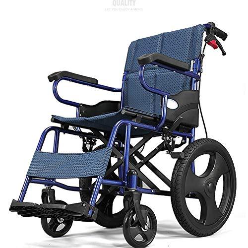Yeeseu Silla de rehabilitación médica, silla de ruedas, silla de ruedas plegable de peso ligero de conducción médica, edad avanzada silla de ruedas de la carretilla Pequeño discapacitados scooter de e