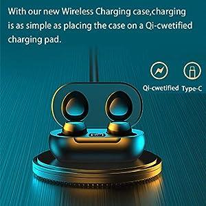 Bluetooth Headphones True Wireless Earbuds, TWS Waterproof 5.0 Earphones with Wireless Charging Case Touch Control Binaural HiFi Stereo Headset Mic Pumping Bass Earpie (Black)