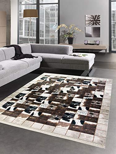 CARPETIA Alfombra de Piel de Vaca Patchwork en Crema Negro marrón Größe 160x230 cm