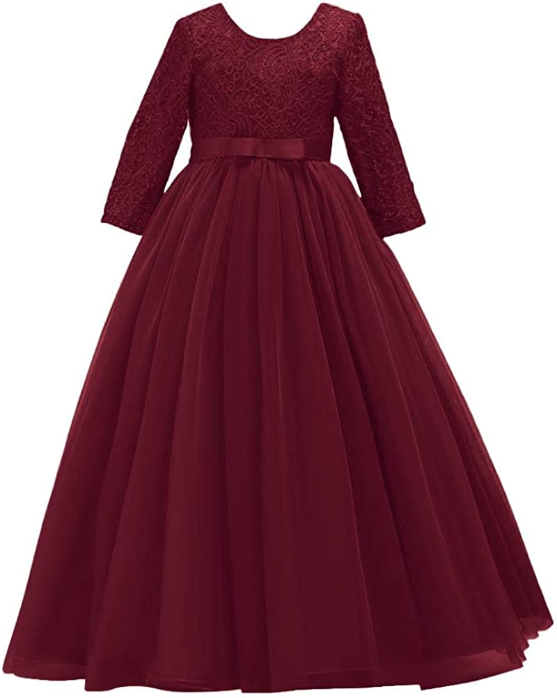 Flower Girls Long Lace Bridesmaid Dress 3/4 Sleeves Floor Length Wedding Party Evening Formal Pegeant Maxi Tulle Ball Gowns