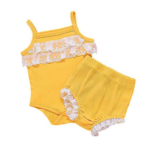 L&ieserram Vestidos de color liso con encaje en laca 2 piezas de ropa de bebé bebé pelele sin mangas + pantalones cortos Primaveral Verano Otoño amarillo 6-12 Meses