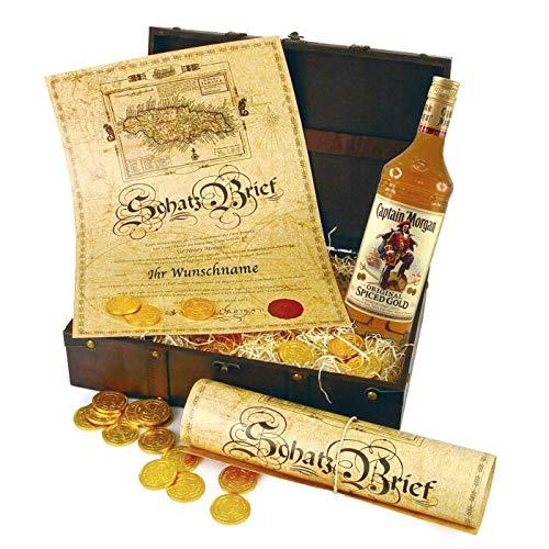 Monsterzeug Captain Morgan Geschenkbox, 3 teiliges Geschenkset mit Alkohol, Geschenktruhe für Rum Liebhaber, Schatztruhe mit Urkunde