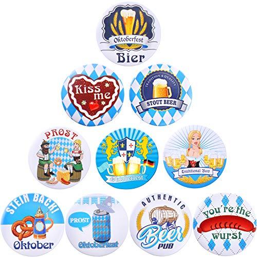 Blulu 30 Stück Oktoberfest Dekorationen, Oktoberfest Festlichkeiten Style Pins Buttons Oktoberfest Abzeichen für Oktoberfest Party Supplies