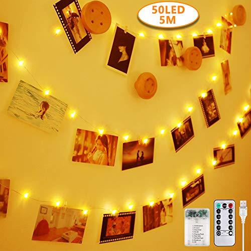 Anpro Clip de Cadena Luces LED Foto, 5M 50 LED,Tira de LUZ,Guirnaldas Luminosas para Decorar Pared,Fiesta,Boda,Habitación