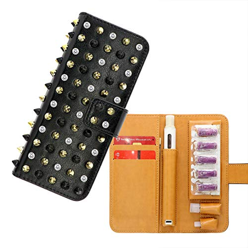 XFSプルームテック プラス ケース スタッズケース PloomTECH + ケース KISS柄 ラインストーン 唇柄ケース Ploom Tech Plus ploomtech+ 全部収納 コンパクト ダイヤモンド 手帳型 カバー 財布型 レザー マウスピ
