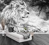 SKTYEE Carta da Parati Murales Black White Lion King Sfondo TV Modern Simple Background Wall Murals Foto 3D Wallpaper, 250x175 cm (98.4 per 68.9 in)