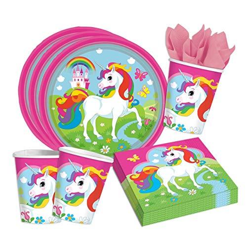 Folat 36-Teiliges Party Set Einhorn Teller Becher Servietten für 8 Kinder Unicorn
