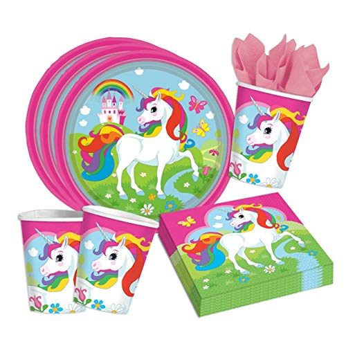 Folat 36-Teiliges Party Set Einhorn Teller Becher Servietten für 8 Kinder Unicorn