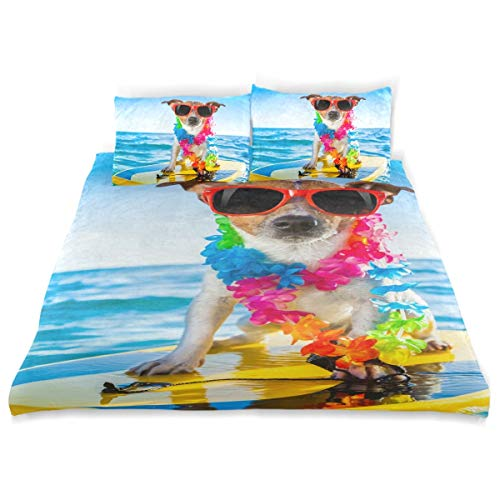 FANTAZIO Jack Russell Terrier Dog Surfing Kids Duvet Cover Set Breathable Twin Size Cover 3 Piece Bedding Set Standard Size Pillow Cover for Children Teens