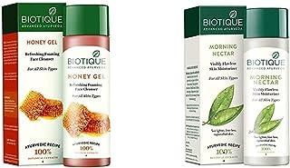 Biotique Bio Honey Gel Refreshing Foaming Face Cleanser, 120ml & Biotique Bio Morning Nectar Visibly Flawless Skin Moistur...