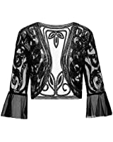 Radtengle Womens Sequin Shrug Bolero Glitter Open Front Cardigan 2//3 Sleeve Cropped Jacket