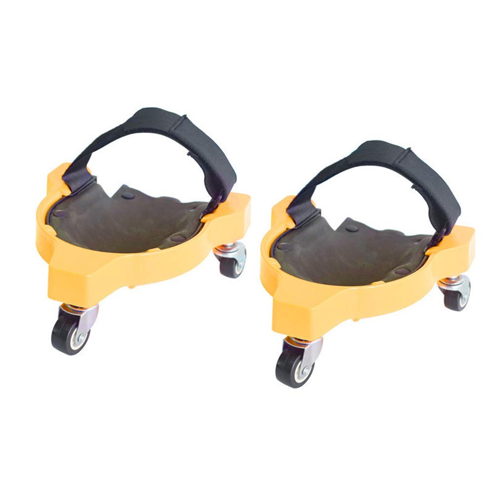 Multifunction Pulley Knee Pads Universal Wheel Kneeling Pad with Integrated Padded Foam for Training Workout Construction Work Knee Pads Yellow