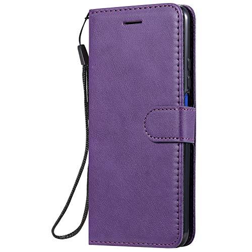 Hülle für Huawei Honor 20Pro Hülle Leder,[Kartenfach & Standfunktion] Flip Case Lederhülle Schutzhülle für Huawei Honor 20 Pro - EYKT050696 Violett