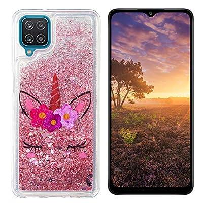 HopMore Glitter Funda para Samsung Galaxy A12 Purpurina Silicona Cover 3D Liquido Brillante Dibujos Transparente Carcasa Resistente Antigolpes Case Protección - Rosado