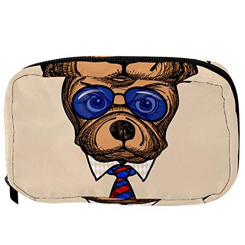 Neceser de Maquillaje Estuche Escolar para Cosméticos Bolsa de Aseo Grande Bulldog con Gafas de Sol Azules y Corbata