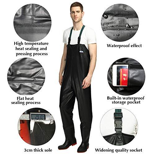 HLONGG Wathose PVC atmungsaktive wasserdichte Fischen Waders mit Boot für Männer und Frauen Größe 8 10 11,UK Size 10—EUsize 44