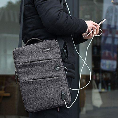 DOMISO 13-13,3 Zoll Wasserdicht Laptophülle mit USB Ladeanschluss Headphone Port Tasche für Apple MacBook Pro/MacBook Air/Dell XPS 13 Inspiron 13 / Acer Swift 1 / Lenovo/HP/Asus, Schwarz