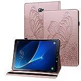 Rostsant Funda Galaxy Tab A6 Carcasa de Cuero PU Billetera Mariposa en Relieve Titular de Pluma Estuche Protector Tablet para Samsung Galaxy Tab A 10.1 Pulgada 2016 SM-T580 / SM-T585 - Oro Rosado