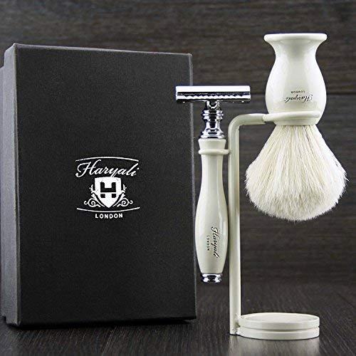 3 Stück Männer Rasieren Set In Elfenbein. Kommt mit White Badger Haarbürste, De Rasierhobel (keine Klingen) und Dual Stand. Großartig als Geschenk für Ihn.