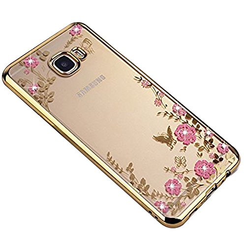 SevenPanda Galaxy Note 8 2017 Hülle, Floral Schmetterling Secret Garden Design Pattern mit Bling Diamond Clear Weiche Flexible TPU Gel Slim Zurück Hülle für Samsung Galaxy Note 8 2017 - Gold