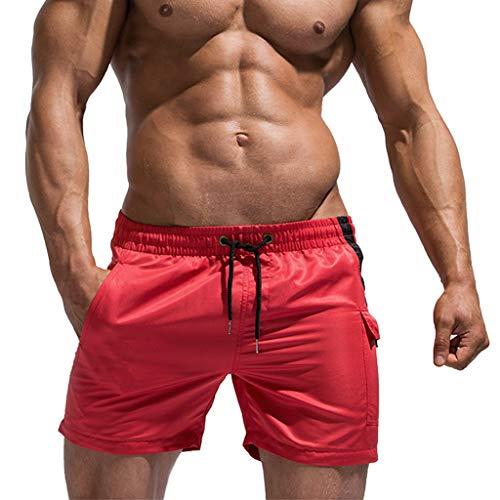 Kariwell Men New Summer Solid Sport Shotrs Trunks - Swimming Quick Drying Casual Loose Beach Pants Underwear for Men Boys Teens Kari-153