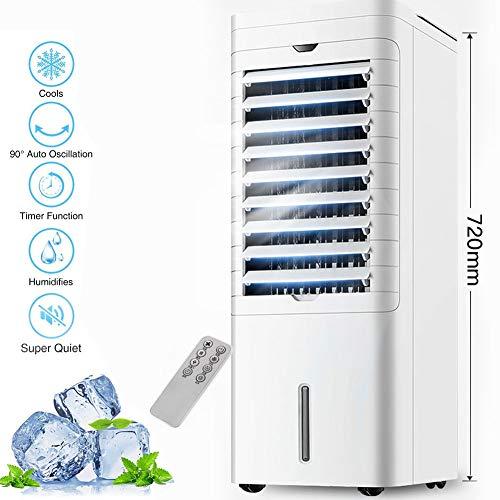 Lapden Enfriador evaporativo con Ventilador humidificador, Enfriador de Aire portátil, 12 Horas Tiempo de fraguado, Auto oscilación, purificador de Aire y Tanque de Agua,Remote