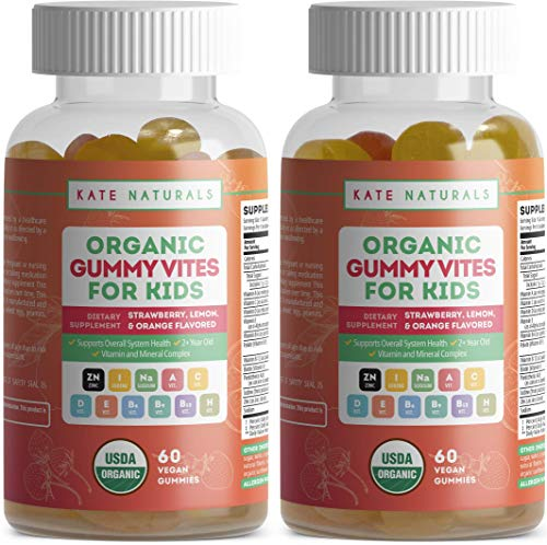 Organic Multivitamin Gummies for Kids by Kate Naturals. Packed with Vitamin A, B, C, D, E and Zinc. Daily Chewable Supplements for Immune System & Wellness Boost. 60 Gummies per Bottle (2 Bottles)