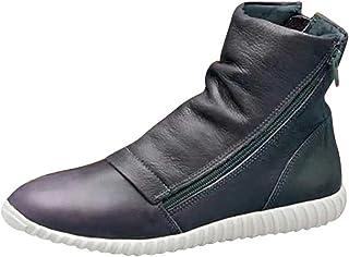 2019 New SANFASHION Bottes Femmes Rétro Cuir Artificielle Chaussures Plates Casual Confortable Doublure Anti-Odeurs Bottes...