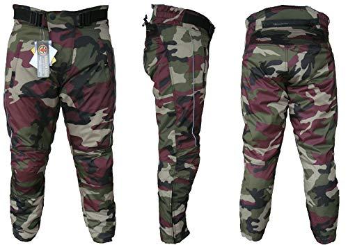 Modernage MAL Pantalones Cordura transpirables para motocicleta, impermeables, con blindaje CE, color camuflaje