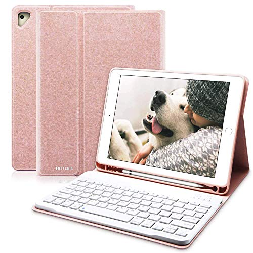 iPad Keyboard Case 9.7 for iPad 2018 6th Gen, iPad Pro 9.7' 2017 5th Gen, iPad Air/Air 2 Wireless Detachable Keyboard Cover, Multiple Angle Honeycomb iPad 6th Generation Cases with Pencil Holder