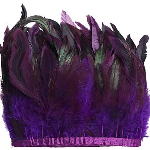 WELROG Pluma de galloRecorte de flecos 12-17 cm de ancho Pack de 5 yardas Pluma para manualidades DIY Costura Recorte Cuello Chales Fringe Vestido de noche Coque Vestido de cóctel (Púrpura)