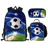 Nopersonality Elegante mochila universitaria de fútbol, béisbol, baloncesto, juego de mochila escolar para adolescentes y niños, 1 bolsa de fútbol para escuela. (Azul) - Nopersonality