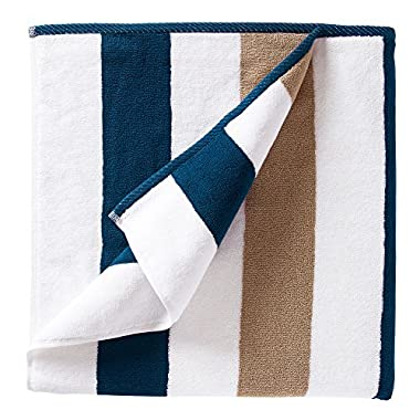 Oversized Plush Cabana Towel by Laguna Beach Textile Co (One Towel) | Navy and Almond Tan | Single Classic, Beach and Pool House Towel