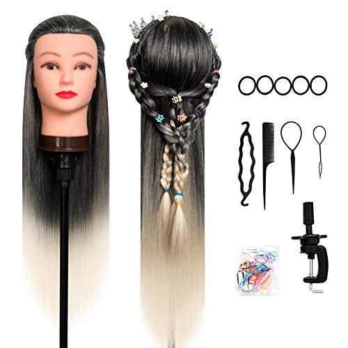 Trainingsköpfe 100% von dem Hochtemperaturfaser Haar Hairdressing Cosmetology Mannequin Frisierkopf Übungskopf mit Halterung+ DIY Haar Zubehör styling (Ombre Black)