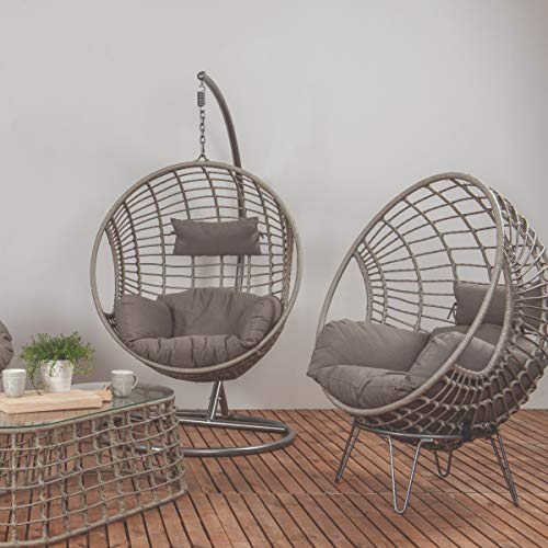 Dawsons Living Milan Hanging Egg Chair - Outdoor and Indoor Rattan Weave Swing Hammock - Hanging Stand and Floor Stand - Grey