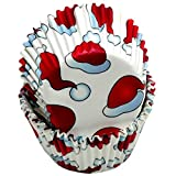 Chef Craft 50 Count Cupcake Liners, Santa Hats