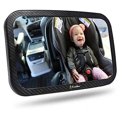 ECONOUR 아기 자동차 시트 미러   SHATTERPROOF 360도 회전식 베이비 리어 뷰 뒷좌석 거울   유아용 자동차 뒷좌석에서 아이들을 안전하게 모니터하십시오   후면을 향한 자동차 시트를위한 뒷좌석 거울