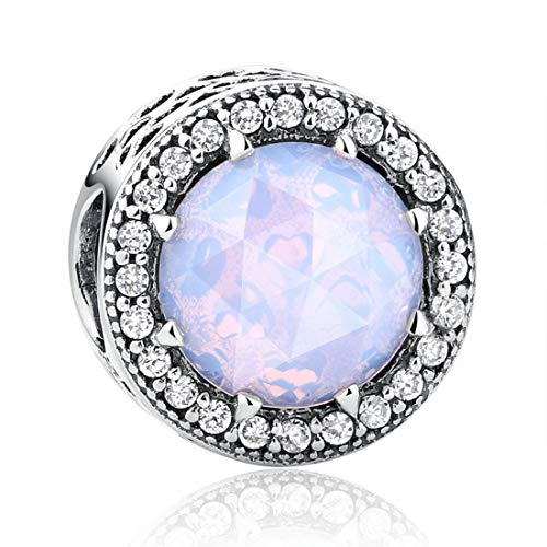 EvesCity Bolenvi 925 Sterling Silver Radiant Pink Opal Ball Charms Beads Pendants for Charm Bracelets & Necklace - Best Gift for Her