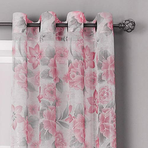 HEJEME Sheer Curtains 84 Inches for Living Room with Rose Floral Print Drapes - Semi Volie Curtains with Grommet Top Bedroom Window Treatment Panels, Set of 2 Panels (Blush)