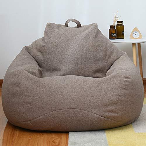 HOYOCE Puf Gigante Funda De Puff con Asa, Transpirable Y Resistente Al Desgaste Cubierta De Sofá Bean Bag Bazaar Paño Suave La Decoración Interior,Marrón,100X120CM