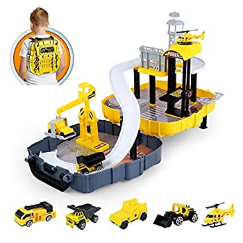 Construction Vehicles Set for Kids  Engineering Truck with Race Track Ramp,Helicopter,Bulldozer Mixer Crane Toys for 3 4 5 6 Year Old Boys Toddlers Kids,Children