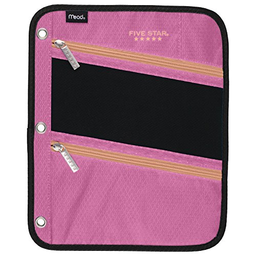 Five Star Pencil Pouch, Pen Case, Fits 3 Ring Binder, Zipper Pouch, Pink/Coral (50642CD8)