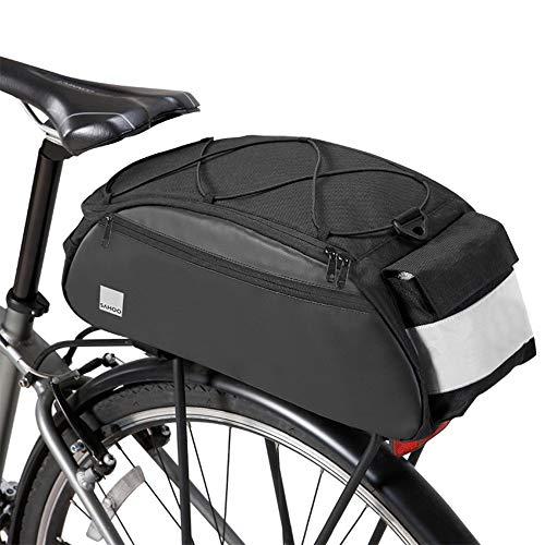 SZSMD Bolsa para bicicleta, bolsa de equipaje, bolsa para portaequipajes, mochila lateral, bolsa para sillín de bicicleta, con luz de advertencia impermeable