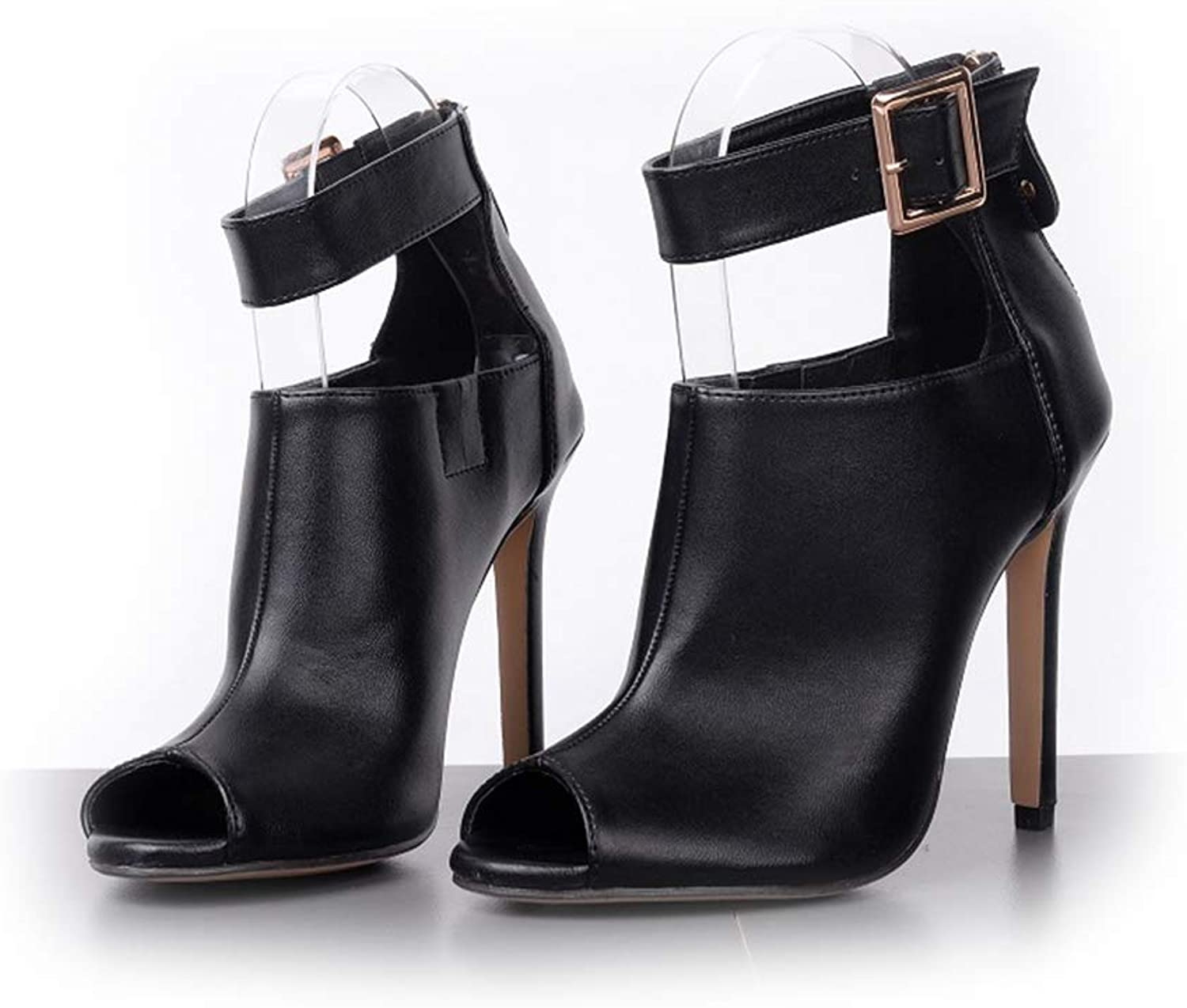 Women's Pump,Metal Buckle High Heel Non-Slip Black Spring Boots Fish Mouth shoes