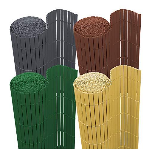 wolketon Sichtschutzmatte PVC Sichtschutz Garten Sichtschutzzaun Sichtschutzn Balkon Zaun, UV-beständig Sichtschutz für Garten Swimming Pools Balkon|Bambus|140 x 400 cm
