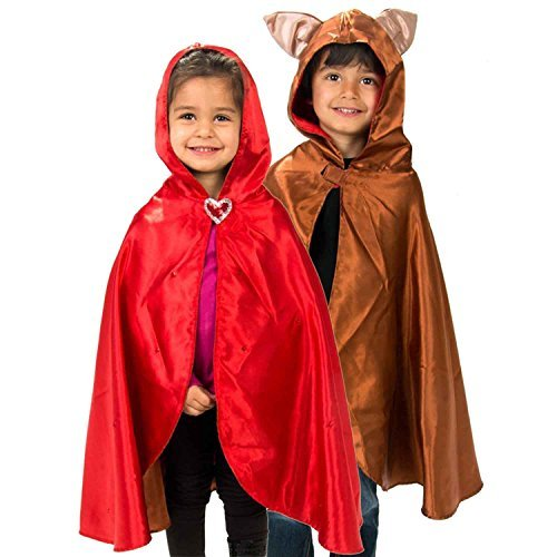 Mantello Reversibile da Cappuccetto Rosso e Lupo, per Bambini (3-8 anni) Lucy Locket