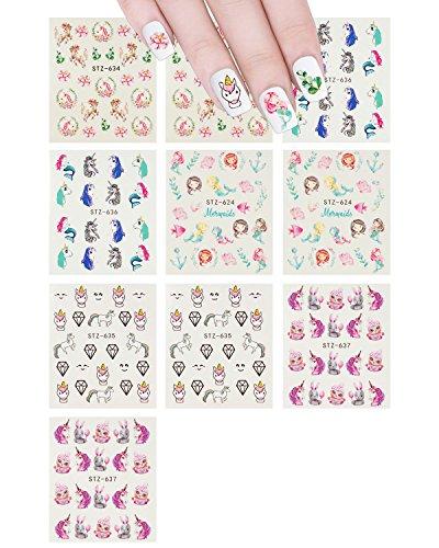 allydrew 71220 calcomanías de agua para decoración de uñas, sirena y unicornios (10 hojas)