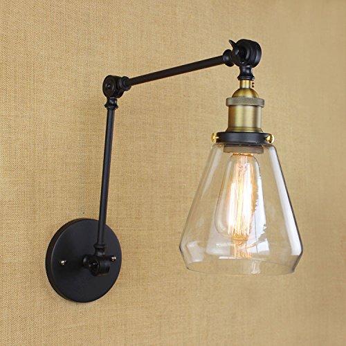 5151BuyWorld Industrial Vintage & eenvoudige wandlamp, ijzer, 2 schommels, glazen arm, schaduw