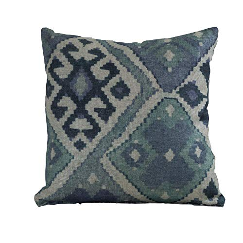 Kilim Turkish Style Printed Double Sided Cushion Cover. 17' x 17' (45cm) Square Scatter Pillow Case. Handmade from super soft 100% natural linen cloth in deep indigo blue teal shades.