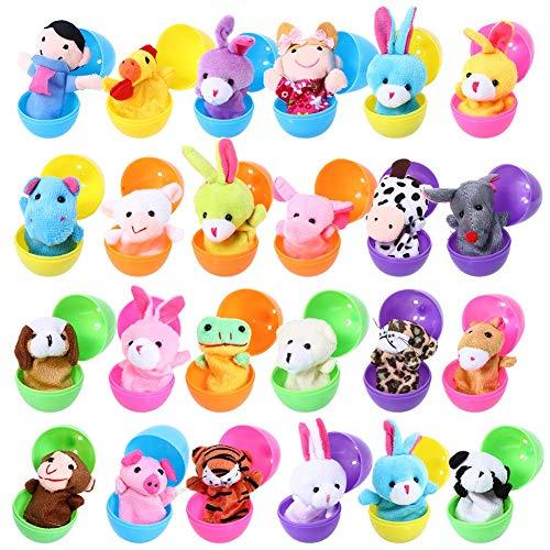 FunsLane Marionetas de Dedo con Huevos de Pascua, 24 Piezas de Marionetas de Mano Set Marionetas de Animales Juguetes Muñecas Lindas para niños, espectáculos, Juegos, escuelas
